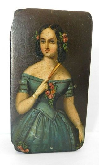 Antique 19thc Papier Mache Snuff ? Box,  Young Queen Victoria,  9.  5 X 5.  1 Cm