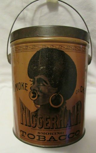 Bigger Hair Formerly N.  Hair Tobacco Tin Black Americana