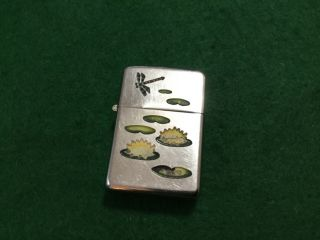 Vintage 1940s Zippo Lighter 2032695 Pat.  Town And Country Rare Lily Pad Design