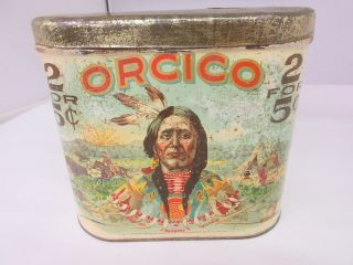 Vintage Rare Orcico Tobacco Advertising Cigar Canister 213