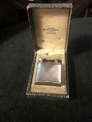 Vintage Sterling Silver Clark Lift Arm Pocket Lighter Hand Hammered Finish W/box