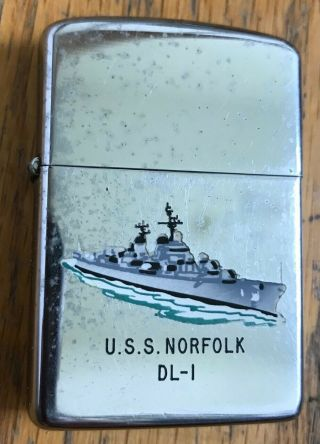 Vintage 1963 Navy Uss Norfolk Dl - 1 Town Country Zippo Lighter