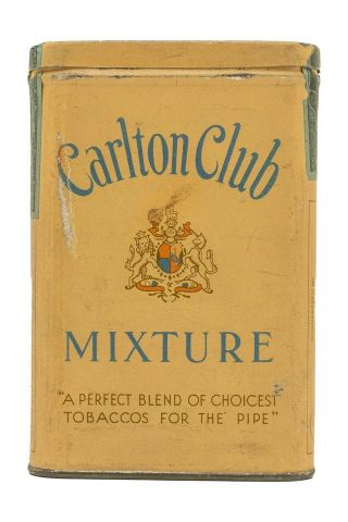 "Rare 1910s "" Carleton Club "" Litho Hinged Pocket Tobacco Tin In Very Good Cond"