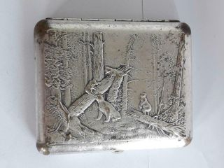 Vintage Russia Russian Silver Plated Cigarette Case Tobacco Case Box - Bears