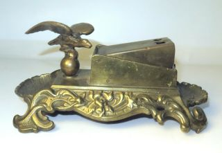 Antique Vintage Brass Bronze Counter Top Cigar Cutter Flying Eagle & Ashtray