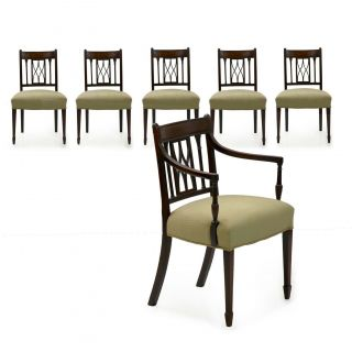 Regency Dining Chairs   19th Century Set Of 6 English Classical Mahogany Chairs