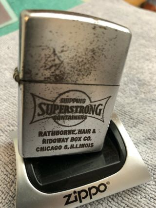 Superstrong Containers 1950 - 57 Zippo Lighter Pat Pend 2517191 Usa Stk Z623