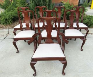 Set Of 8 Henkel Harris Mahogany Queen Anne Style Model 110 Dining Room Chairs