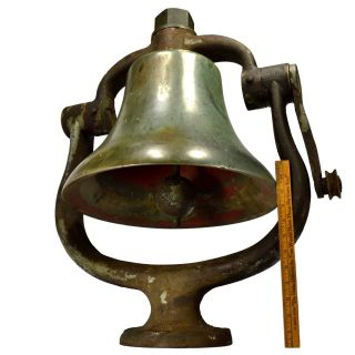 Antique Brass/bronze Locomotive Bell W/ Cradle Yoke Clapper & Finial Reading Rr?