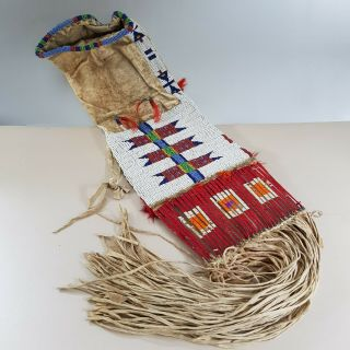 Antique Sioux (lakota) Beaded And Quilled Pipe Bag,  Amos Gottschall,  Circa 1890
