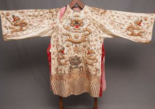 Antique Chinese Qing Dynasty Silk Embroidered Textile Jacket | Robe | Dragons