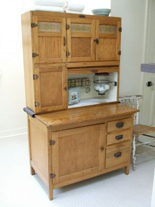 Antique Oak Hoosier Cabinet By Mcdougall,