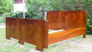 Art Deco Double Bed.  King Size Sleigh Bed.  1920s Vintage Antique Walnut