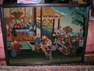 Exquisite Antique Late 19th C.  Qing Dynasty Reverse Glass Painting 25x33