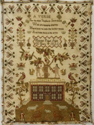 Early 19th Century Red House & Adam & Eve Sampler By Harriot Priest Aged 12 1826