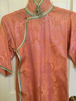 Exquisite Antique Chinese Damask Silk Robe Lovely Coral Color