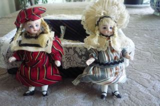 2 Miniature 4 Inch Antique French Dolls,  Marked 31 - 10