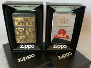Vintage Solid Brass 6 Camel Zippo Lighter & Doral In Case