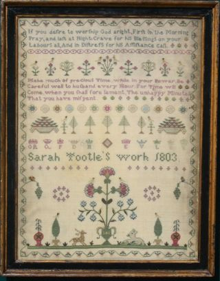 Exceptional Antique Needlework Sampler By Sarah Tootle 1803 American Interest