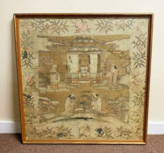 Large Antique Chinese Silk Kesi Panel Textile With Figures
