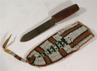1880s Native American Sioux Indian Bead Decorated Hide Knife Sheath And Knife