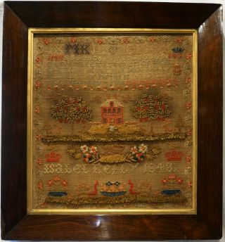 Mid 19th Century Red House,  Garden,  Lion & Verse Sampler Isabel Kelly - 1848