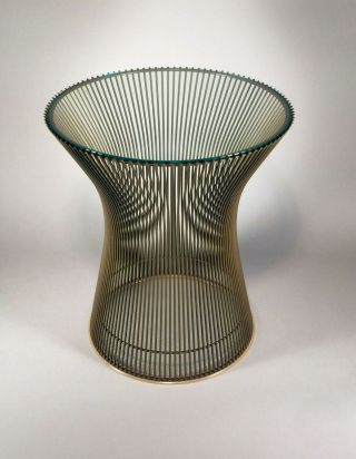 Vintage Authentic Warren Platner For Knoll Bronze Finish Glass Top Side Table