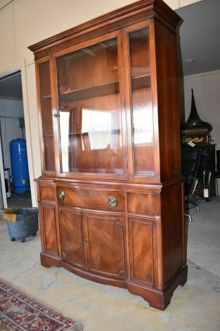 Antique Flame Mahogany Dining Room China Hutch,  Vintage Furniture