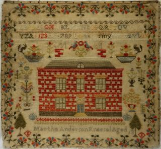 Mid 19th Century Red House & Motif Sampler By Martha Anderson Aged 13 - C.  1860