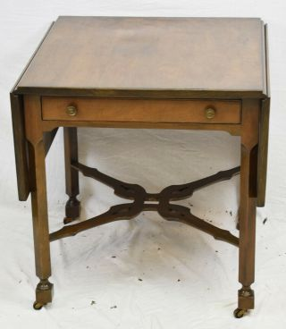 Kittinger Chippendale Mahogany Drop Leaf Table Occasional Table Pembroke Table