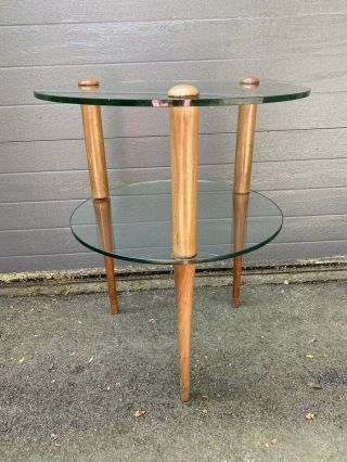 Gilbert Rohde For Herman Miller Glass And Wood Side Table