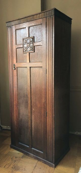 Antique Oak Gothic Church Clergy Wardrobe Closet Armoire Arts And Craft 30's 20s