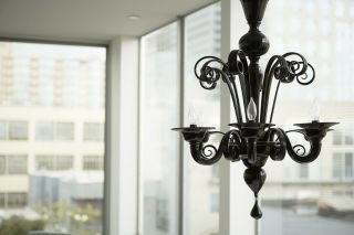 Black Murano Glass Chandelier,  6 Lights By Design Within Reach Parts