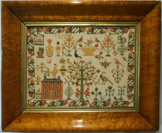 Mid 19th Century Red House,  Figures,  Cat,  Birdcage & Motif Sampler - C.  1860