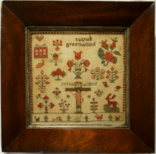 Small Mid 19th Century Red House & Motif Sampler By Susanah Greenwood - C.  1845