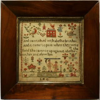 Small Mid 19th Century Red House And Cain & Abel Sampler Initialled Shg - C.  1845