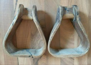 Vintage Antique Wood Calvary Us Horse Saddle Stirrups
