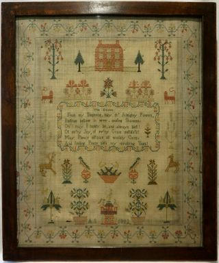 Early 19th Century Red House,  Motif & Verse Sampler Initialled A.  S - 1802