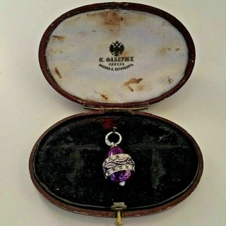 Old Russian Faberge Design Enamel 84 Silver Egg Pendant With Crystals & Pearl