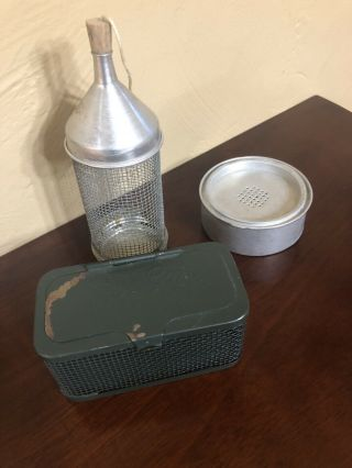 Vintage Fisherman's Live Bait Cage And 2 Misc Bait Containers