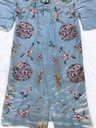 Antique Chinese Qing Dynasty Silk Embroidered textile Robe   Jacket 3