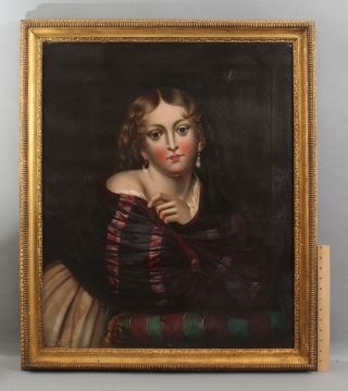 Large 19thc Antique Life - Size American Folk Art Portrait Oil Painting Young Girl