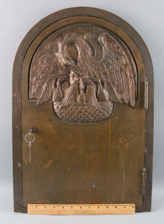 Antique Bronze Religious Church Reliquary Tabernacle Door Pelican Nest