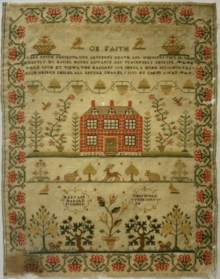 Early 19th Century Red House,  Motif & Verse Sampler By Mary Ann Harold - C.  1835