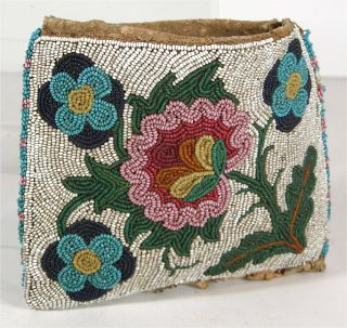 1890s Native American Plains Cree Indian Bead Decorated Hide Pouch Beaded Bag