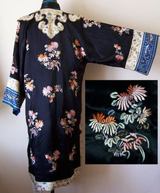 Antique Chinese Embroidered Black Silk Robe Coat Coral/peach Floral Flawed