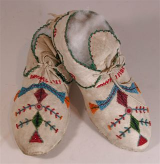 1920s Pair Native American Santee Sioux Indian Bead Decorated Hide Moccasins