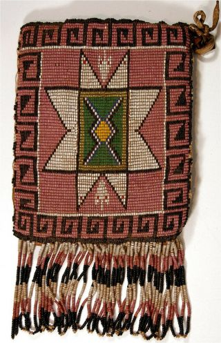 1890s Native American Sioux / Mandan Indian Bead Decorated Hide Bag Beaded Pouch