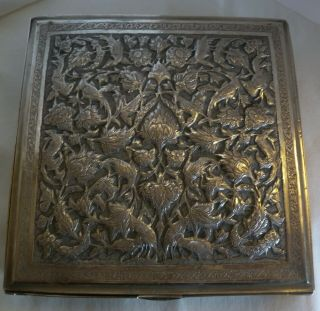 Vintage Persian Silver Hand Chased Cigar Box W/ Birds Of Paradise - 615 Grams