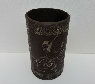 Old Antique Chinese Silver Inlaid Iron Brush Pot 2 Panel Figures Qianlong Mark